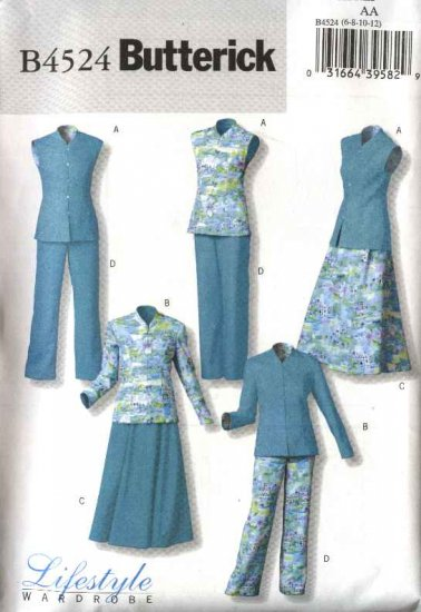 Butterick Sewing Pattern 4524 Misses Size 14-16-18-20 Easy Wardrobe Reversible Top Skirt Pants