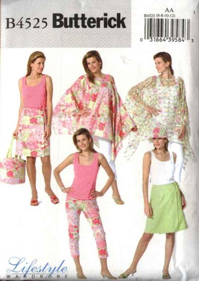 Butterick Sewing Pattern 4525 Misses Size 14-20 Easy Casual Wardrobe Poncho Top Wrap Skirt Hat Bag