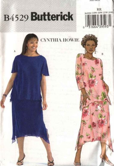 Butterick Sewing Pattern 4529 Womans Plus Size 26W-32W Easy Pullover Top Skirt Asymmetrical Hem