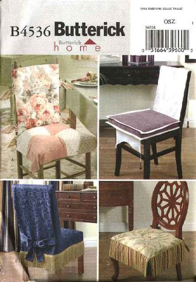 Butterick Sewing Pattern 4536 Straight Chair Seat Back Covers Cushion