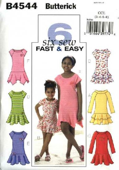 Butterick Sewing Pattern 4544 Girls Size 3-4-5-6 Easy Pullover Knit Dresses