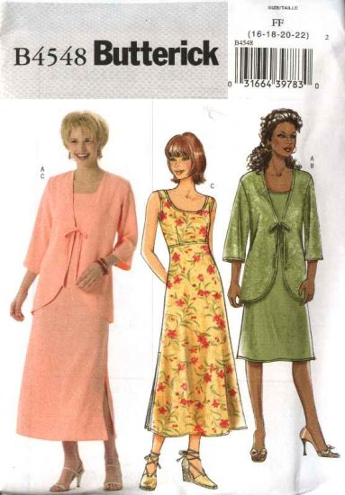Butterick Sewing Pattern 4548 Misses Size 8-10-12-14 Easy Tie Front Jacket Sleeveless Empire  Dress