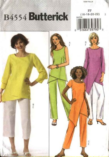 Butterick Sewing Pattern 4554 Misses Size 16-18-20-22 Easy Pullover Tunic Top Straight Leg Pants