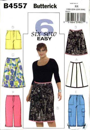 Butterick Sewing Pattern 4557 Womans Plus Size 18W-24W Easy A-Line Skirt Shorts Capri Cropped Pants