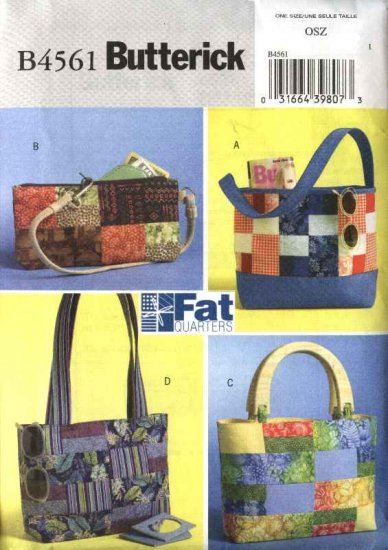Butterick Sewing Pattern 4561 Four Lined Fat Quarters Handbags Purses Totebags Pocketbooks