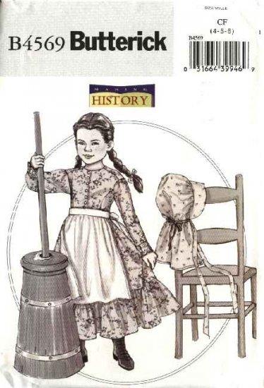 Butterick Sewing Pattern 4569 Girls Size 4-6 Prairie Costume Long Dress Pantaloons Apron Bonnet