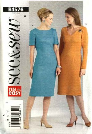 Butterick Sewing Pattern 4576 Misses Size 8-10-12 Easy Short Long Sleeve Straight Dress