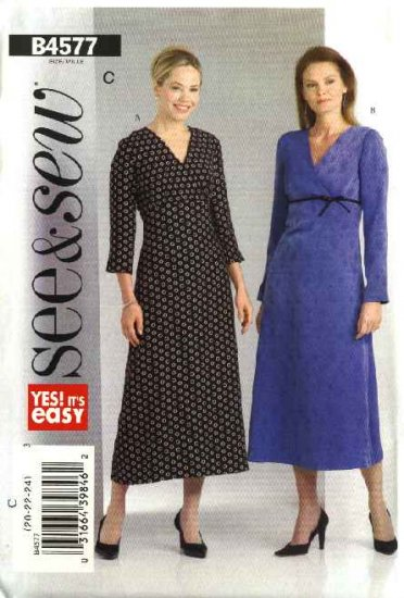 Butterick Sewing Pattern 4577 Misses Size 14-16-18 Easy Empire Waist A-Line Long Sleeve Dress