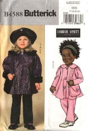 Butterick Sewing Pattern 4588 Toddler Girls Size 1-4 Easy Button Front Jacket Leggings Hat Purse