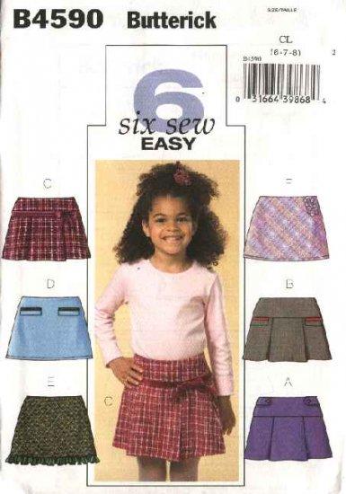 Butterick Sewing Pattern 4590 Girls Size 2-3-4-5 Easy Pleated Yoke A-Line Skirts