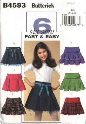 Butterick Sewing Pattern 4593 Girls Size 7-8-10 Easy Pleated Layered Tiered Yoke Skirt