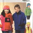 Butterick Sewing Pattern 4595 Boys Girls Size 7-8-10 Easy Fleece Jacket Vest Hat Scarf Mittens