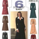 Butterick Sewing Pattern 4596 Misses Size 6-8-10-12 Easy Mock Wrap Dress Sleeve Collar Variations