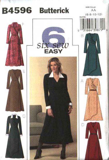 Butterick Sewing Pattern 4596 Misses Size 14-16-18-20 Easy Mock Wrap Dress Sleeve Collar Variations