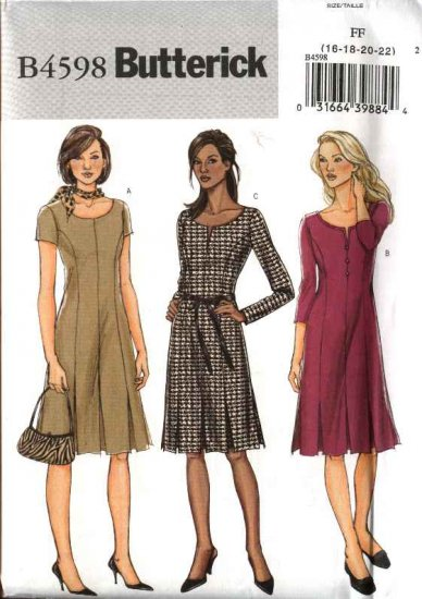 Butterick Sewing Pattern 4598 Misses Size 16-18-20-22 Easy Princess Seam Pleats Dress