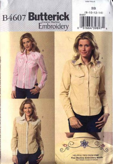 Butterick Sewing Pattern 4607 Misses Size 16-22 Easy Embroidered Western Style Snap Front Shirt