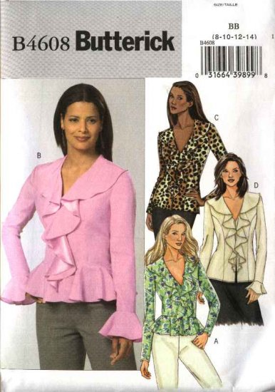 Butterick Sewing Pattern 4608 Misses Size 8-10-12-14 Easy Ruffle Flounce Front Peplum Blouse