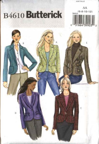 Butterick Sewing Pattern 4610 Misses Size 6-8-10-12 Easy Fitted Lined Princess Seam Jacket