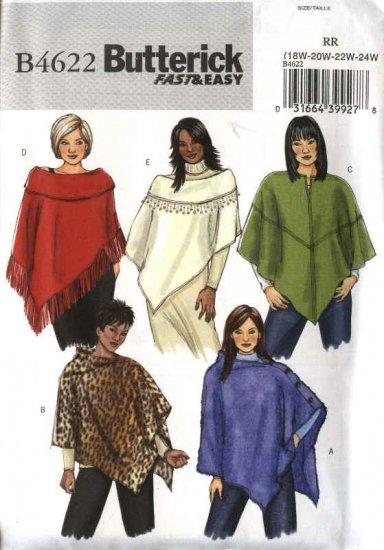 Butterick Sewing Pattern 4622 Womans Plus Size 18W-24W  Easy Fleece Knit Wool Ponchos
