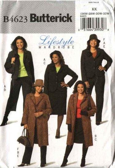 Butterick Sewing Pattern 4623 Womans Plus Size 26W-32W Easy Wardrobe Jacket Skirt Pants Hat