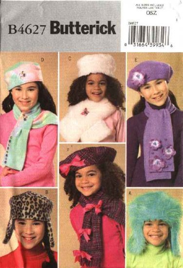 Butterick Sewing Pattern 4627 Girls' Fleece Fake Fur Embellished Hats Scarves Scarf