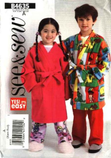 Butterick Sewing Pattern B4635 4635 Boys Girls Size 3-6 Easy Wrap Front Robe Pajamas Top Pants