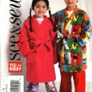 Butterick Sewing Pattern 4635 Boys Girls Size 3-4-5-6 Easy Wrap Front Robe Pajamas Top Pants