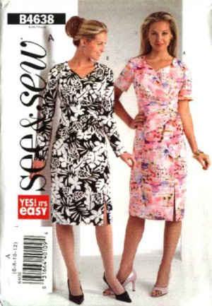 Butterick Sewing Pattern 4638 Misses Size 14-16-18-20 Easy Mock  Wrap Straight Dress