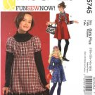 McCall's Sewing Pattern 5745 Girls Plus Size 10½-16½ Easy Empire Waist Dress Sleeve Variations