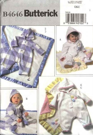 Butterick Sewing Pattern 4646 Baby Infant Size NB-L Easy Hooded Snap Crotch Jumpsuit Blanket