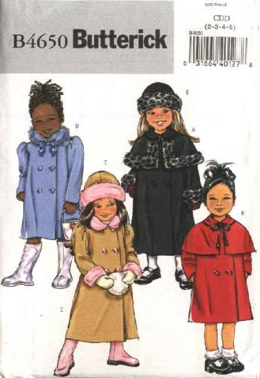 Butterick Sewing Pattern 4650 Girls Size 2-3-4-5 Easy Double Breasted Button Front Capelet Coat Hat