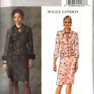 Butterick Sewing Pattern 4656 Misses Size 16-22 Lined Jacket Straight Skirt Removable Fur Cuffs
