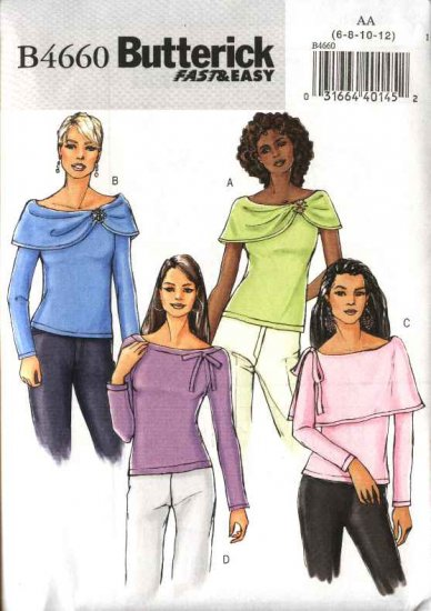 Butterick Sewing Pattern 4660 Misses Size 14-20 Easy Pullover Knit Tops Sleeve Drape Variations