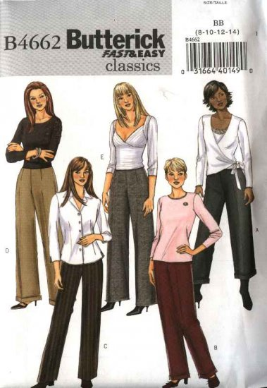 Butterick Sewing Pattern 4662 Misses Size 8-10-12-14 Easy Classic Pants Slacks Trousers