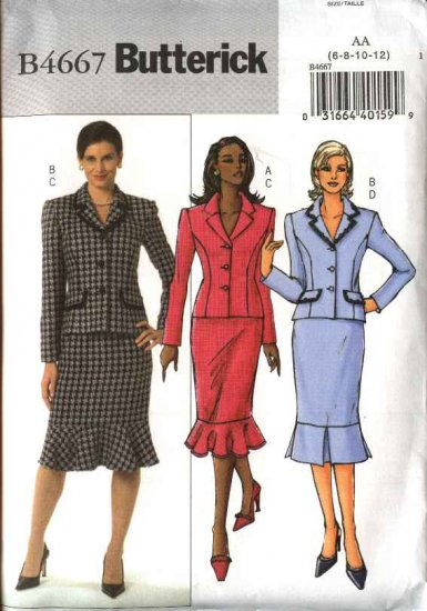 Butterick Sewing Pattern 4667 Misses Size 6-8-10-12 Easy Princess Seam Jacket Straight Skirt Suit