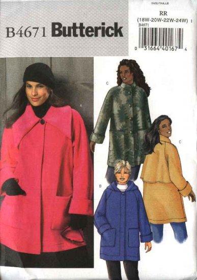Butterick Sewing Pattern 4671 Woman's Plus Size 26W-32W Easy Button Front Hooded Fleece Coats