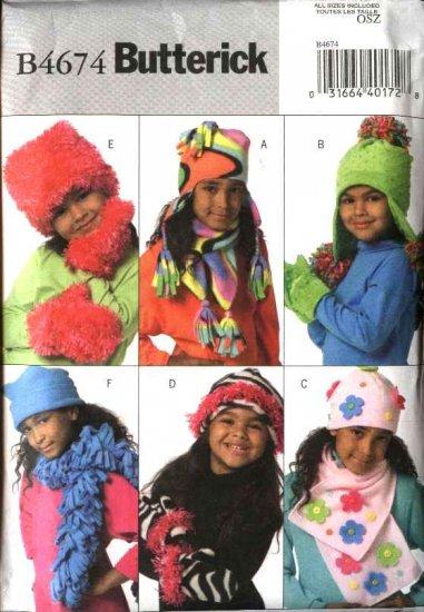 Butterick Sewing Pattern 4674 Girls' Fleece Embellished Hats Scarves  Mittens