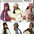 Butterick Sewing Pattern 4675 Misses' Fleece Embellished Hats Scarves Hand Muffs