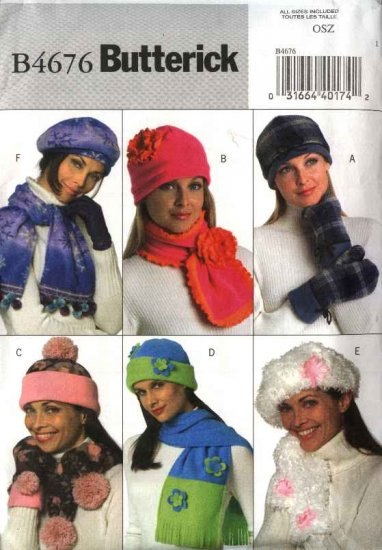 Butterick Sewing Pattern 4676 Misses' Fleece Embellished Hats Scarves  Mittens PomPoms Flowers