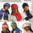 Butterick Sewing Pattern 4676 Misses' Fleece Embellished Hats Scarves  Mittens PomPoms Flowers