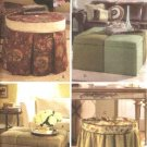 Butterick Sewing Pattern 4677 Waverly Upholstered Round Square Storage Ottomans