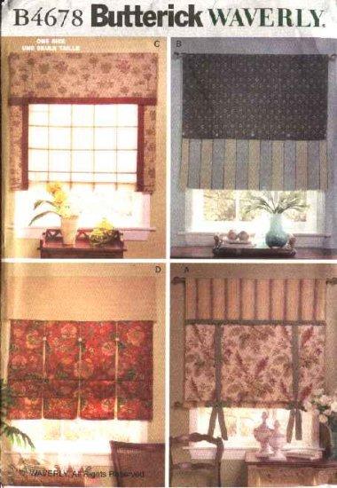 Butterick Sewing Pattern B4678 4678 Waverly Window Shades  Valances