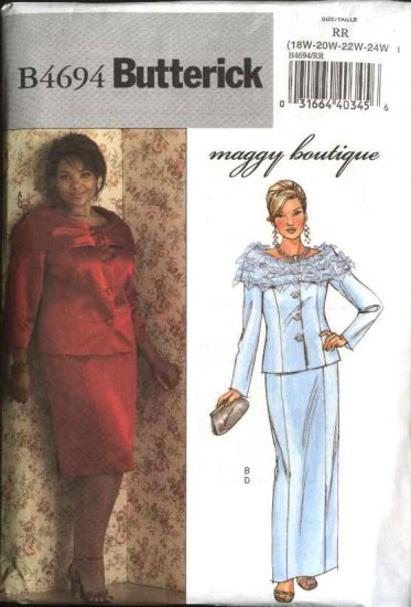 Butterick Sewing Pattern 4694 Womans Plus Size 26W-32W Formal Jacket Long Short Straight Skirt