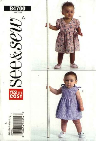 Butterick Sewing Pattern 4700 Baby Girl Size NB-L Easy Wrap Front Sun Dress & Panties