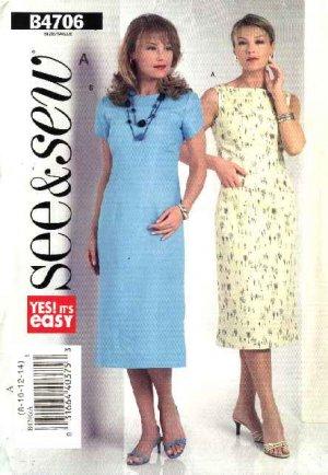 Butterick Sewing Pattern 4706 Misses Size 8-10-12-14 Sleeveless Short Sleeve Straight Dress