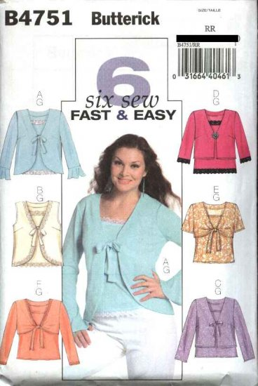 Butterick Sewing Pattern 4751 Womans Plus Size 18W-24W Easy Camisole Long Short Sleeve Shrugs