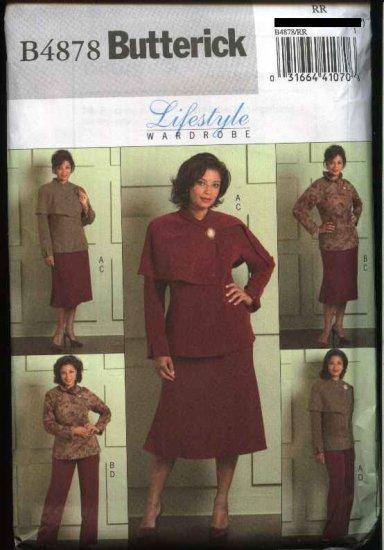 Butterick Sewing Pattern 4878 Womans Plus Size 18W-24W Wardrobe Unlined Jacket Skirt Pants