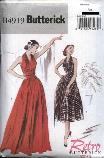 Butterick Sewing Pattern 4919 Misses Size 14-20 Easy Retro '52 Long Short Sleeveless Gown Dress