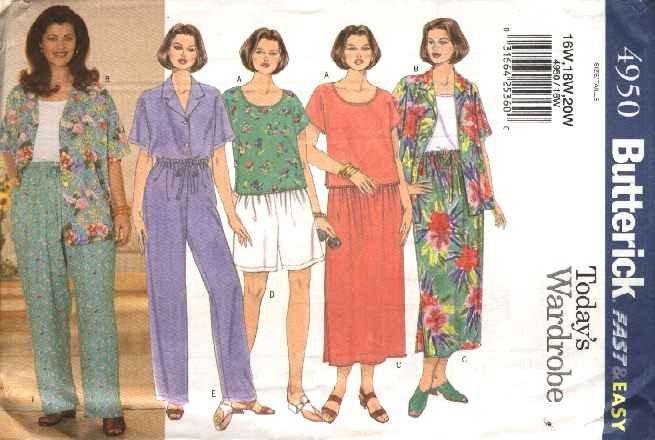Butterick Sewing Pattern 4950 Womans Plus Size 28W-32W Easy Wardrobe Top Skirt Pants Shirt Shorts