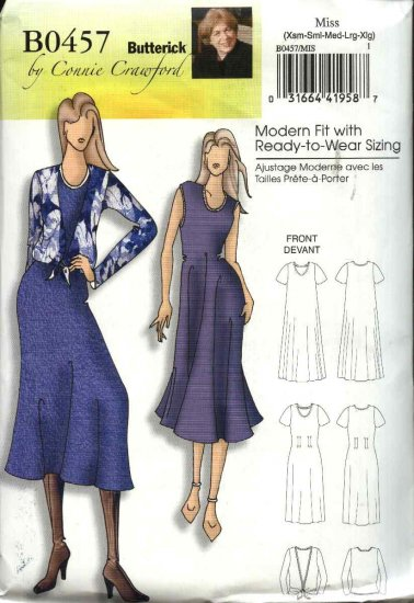 Butterick Sewing Pattern 5049 0457 Womans Plus Size 18W-44W Easy Loose Fitting Dress Blouse Jacket